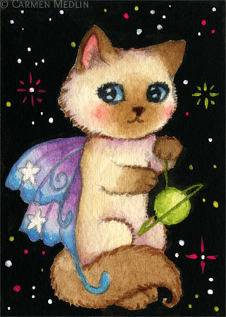 World on a String cute Siamese space fairy cat art by Carmen Medlin