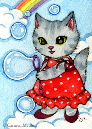 Bubbles cute whimsical cat art by Carmen Medlin