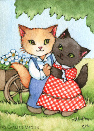 Country Sweethearts cute cat art by Carmen Medlin