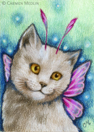 Dreamy cute fairy cat art by Carmen Medlin