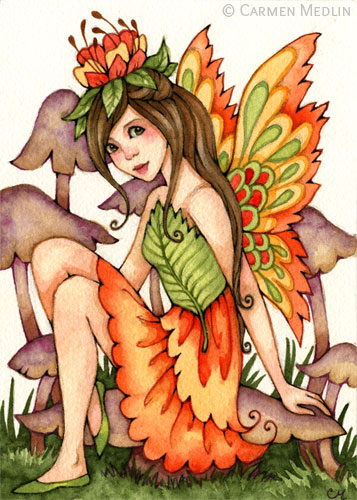 Fiery Wings autumn fantasy fairy art by Carmen Medlin