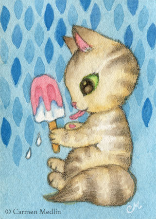 Icy Treat cute ice cream cat art by Carmen Medlin