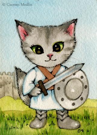 Knight in Training cute Medieval cat art by Carmen Medlin