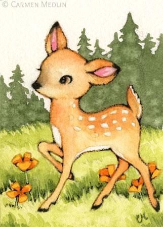 Little Fawn cute baby deer Bambi art by Carmen Medlin