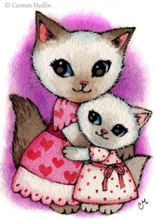Mama Kitty cute cat family art by Carmen Medlin