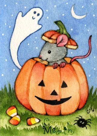 Mouse O' Lantern cute halloween art by Carmen Medlin