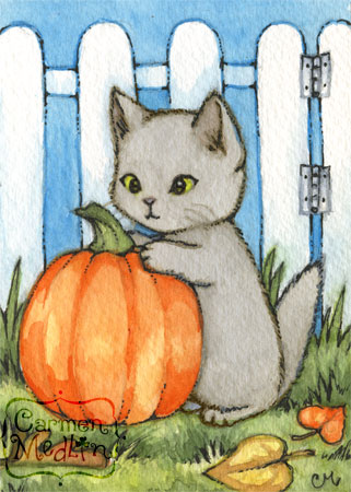 My Pumpkin cute autumn Halloween cat art by Carmen Medlin