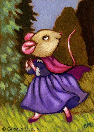 She Went Wandering cute mouse art by Carmen Medlin