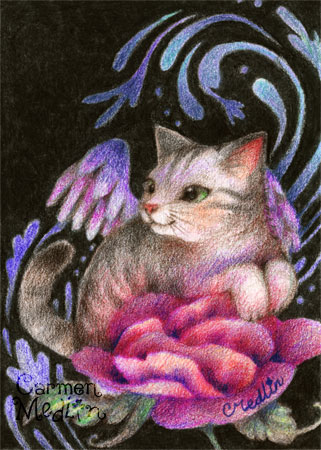 Angel Rose - fantasy colored pencil cat art by Carmen Medlin
