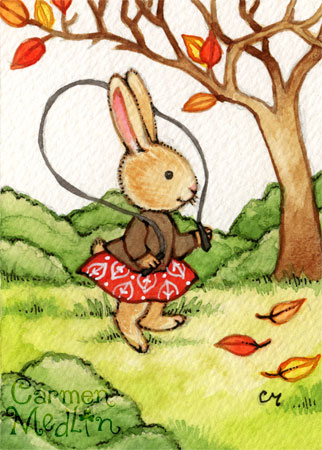 Autumn Afternoon - cute rabbit watercolor art by Carmen Medlin