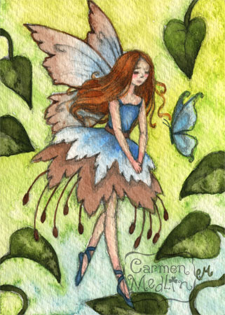 Blue Wings - fairy watercolor art by Carmen Medlin