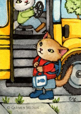 Bus Stop - cute school cat watercolor art by Carmen Medlin