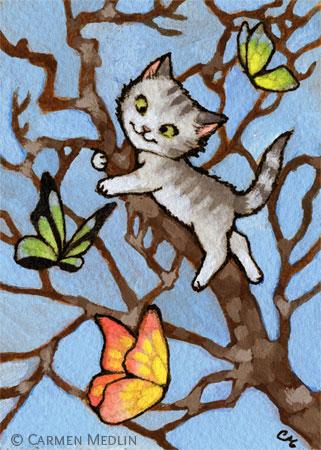 Butterfly Tree - cute cat art by Carmen Medlin