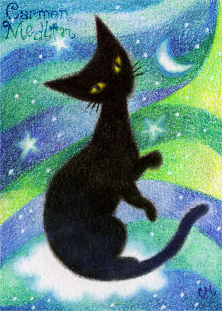 Dreaming in Retro - cute 1950s cat art by Carmen Medlin