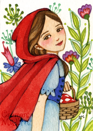Journey to Grandmother - Red Riding Hood fairytale art by Carmen Medlin