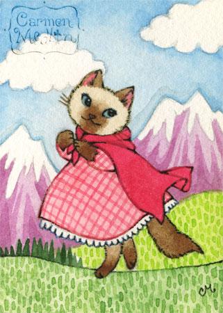 Mountain Walk - cute siamese cat watercolor art by Carmen Medlin