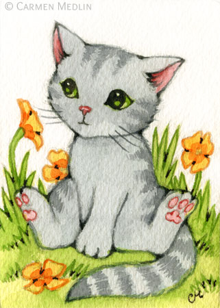Poppy Garden - cute watercolor cat art by Carmen Medlin