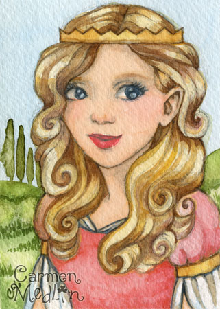 Princess Aurora fairytale watercolor art by Carmen Medlin