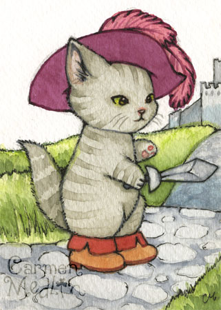 Puss in Boots - cute fairytale cat art by Carmen Medlin