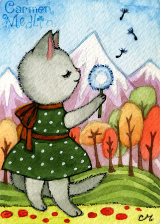 Wish - cute retro watercolor cat art by Carmen Medlin