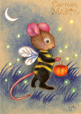 Bumblemouse - cute Halloween mouse art by Carmen Medlin