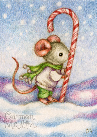 Candy Cane Mouse - cute holiday animal art by Carmen Medlin
