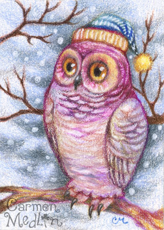 Chilly Owl - cute winter bird art by Carmen Medlin