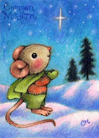 Christmas Star Wish - cute mouse holiday colored pencil art by Carmen Medlin