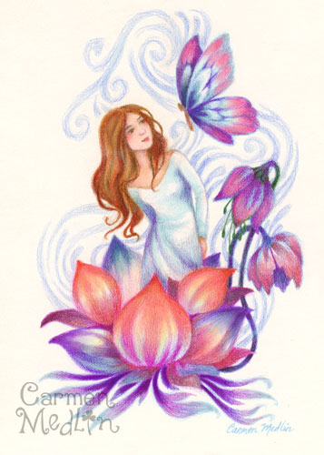 Emergence - healing fantasy colored pencil art by Carmen Medlin