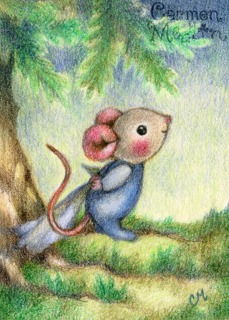 Good Morning - cute forest mouse art by Carmen Medlin