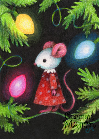 Pretty Lights - cute Christmas tree mouse art by Carmen Medlin