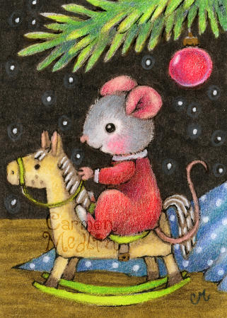 Rocking Horse - cute Christmas mouse art by Carmen Medlin