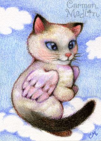 Snowshoe Angel - cute winged cat fantasy art by Carmen Medlin