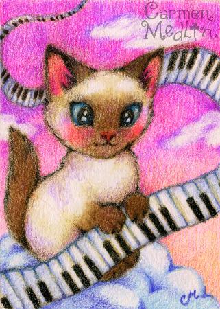 Sunset Sonata - cute Siamese piano cat art by Carmen Medlin