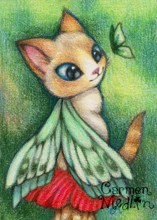 Sweet One - cute fairy fantasy cat art by Carmen Medlin