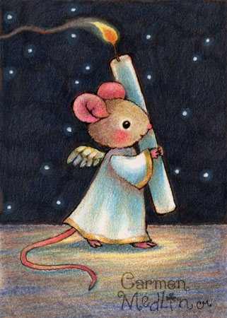 Tiny Flame - cute Christmas angel mouse art by Carmen Medlin