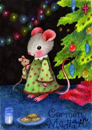 Waiting for Santa Mouse - cute Christmas colored pencil art by Carmen Medlin
