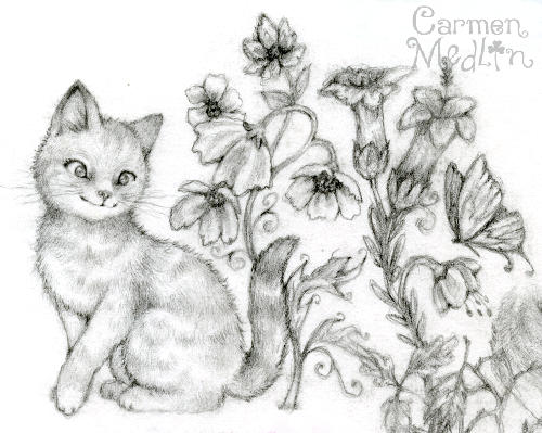 Cat Garden sketch by Carmen Medlin