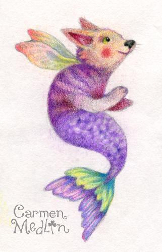 Dogfish Fairy sketch by Carmen Medlin