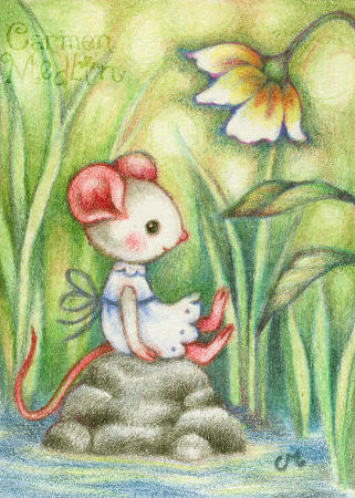 Ivory Carefree - cute mouse art by Carmen Medlin