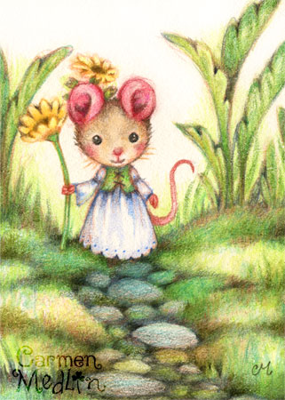 Lady Buttercup - cute Renaissance mouse art by Carmen Medlin