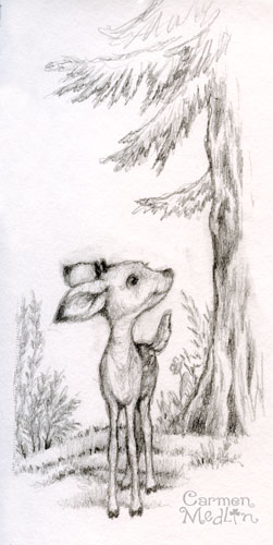 Little Deer cute forest animal sketchbook by Carmen Medlin