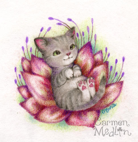 Lotus Kitty cute cat art by Carmen Medlin