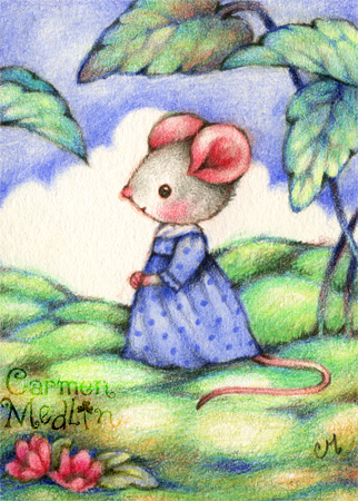 Mousie Elinor Dashwood - Jane Austen mouse art by Carmen Medlin