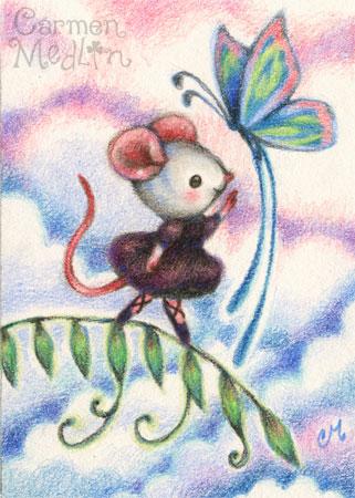 Reach for Your Dreams - cute ballerina mouse art by Carmen Medlin