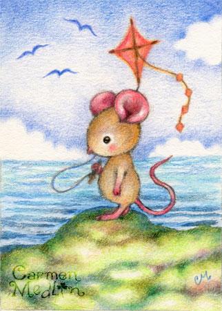 Seaside Play - cute mouse art by Carmen Medlin