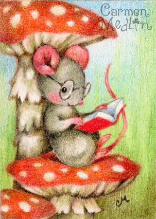 Studious - cute mouse art by Carmen Medlin