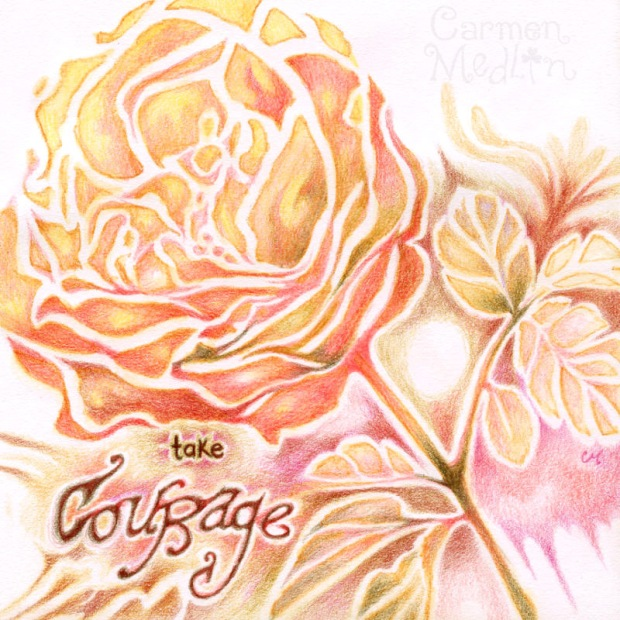 Take Courage - Cabbage Roses Crafters Workshop stencil Carmen Medlin