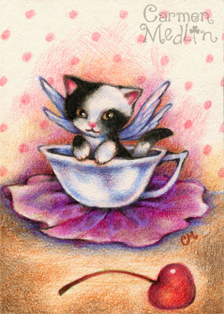 Fairy Kitty Teatime - cute fantasy cat art by Carmen Medlin