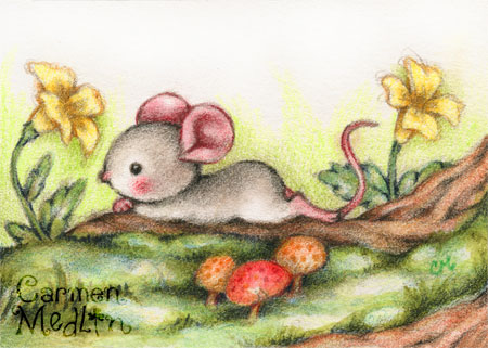Forest Daydream - cute mouse art by Carmen Medlin